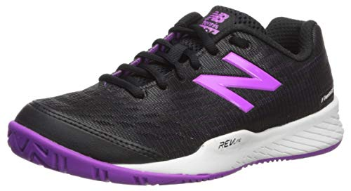New Balance Women's 896 V2 Hard Court Tennis Shoe, Black/Voltage Violet, 11 B US