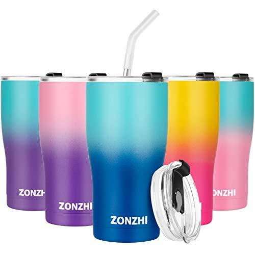 ZONZHI Thermobecher- 600ML Edelstahl Kaffeebecher to go- Auslaufsicher- Wiederverwandbarer Thermobecher mit BPA Frei Deckeln für heißen und kalten Kaffee, Tee usw,Blau