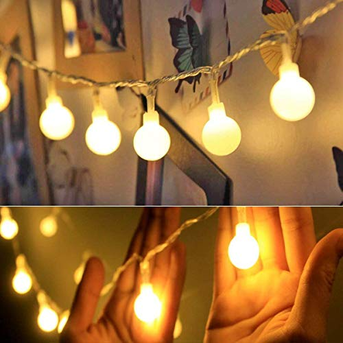Battery Operated USB 2 in 1 String Lights - 40ft 100 LED Globe String Lights with Timer& Memory Function & 8 Modes String Lights for Christmas Garden Patio Party Indoor Outdoor Bedroom (Warm White)