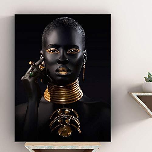 Afrikaanse kunst zwarte en gouden vrouw met ketting canvas schilderij en posters Wall Art foto woonkamer decor 60x80cm zonder lijst
