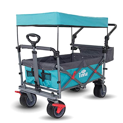 TMZ Faltbar Bollerwagen mit Dach, Klappbar Handwagen für Kinder, Patentiert 360° Dreh-Räder Gartenwagen, Breite AutoReifen Klappwagen, Doppelfuß-Bremsen Transportwagen, Strandwagen, 102 L, 120kg