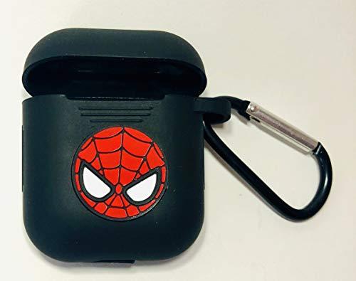 PFEISCO. Trade beschermhoes compatibel met Apple Airpods Case Superhelden Design Cartoon Bluetooth koptelefoon ontwerp vergelijkbaar met Marvel Ironman Batman Spiderman, 4,5 x 5,5 x 2,4 cm, Spiderman zwart 1