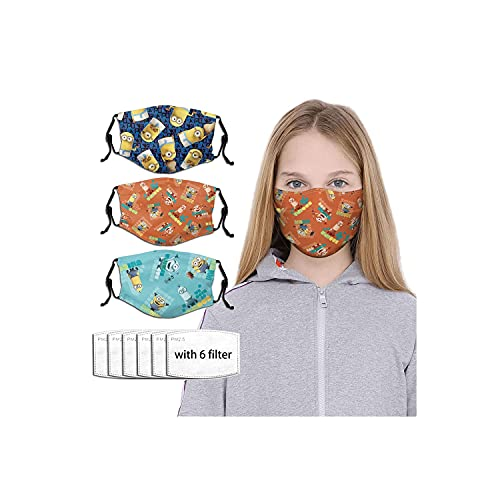 Mini-ons Desp-icable Me Cartoon Face Mask Washable Masks 3PC with 6 Filters Black Disposable Adjustable Cloth Reusable Mouth Cover Designs Balaclava for Kids Boys Girls Childrens