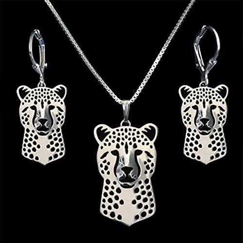 RTEAQ Moda Collar Joyas Gargantilla Juego de Joyas de Guepardo de Metal para Parejas Juego de Joyas de Animales de aleación para Mujeres Parejas Fiesta Cumpleaños Regalos