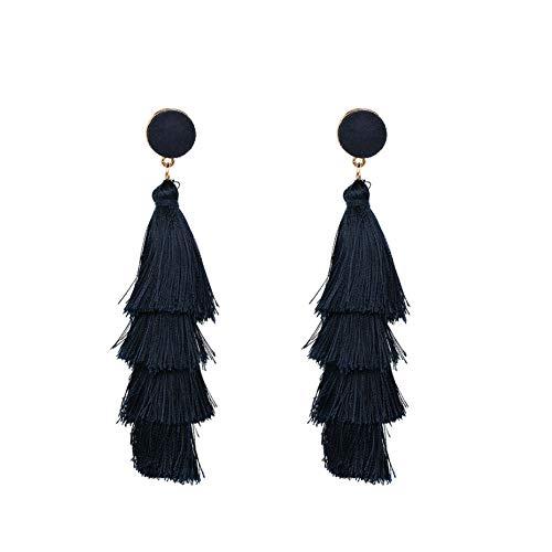 hemore pendientes a la Mode pompón en seda para mujeres pendientes de Bohemia Dangle multicapa con flecos pendientes Goujon regalo pendientes 1par negro negro