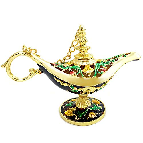WASDY Lámpara De Aladín Mágica De Lujo con Caja Lámpara De Aladín Mágica, Decoración Vintage para Hogar, Oficina, Decoración De Mesa, Manualidades,Oro