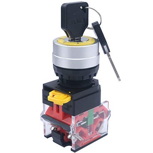 Mxuteuk 2NO 3 posiciones Selector Selector Selector Selector Selector Selector Con Llave 600V 10A, 22mm Latching, 3 años de garantía LA36A-20Y/31