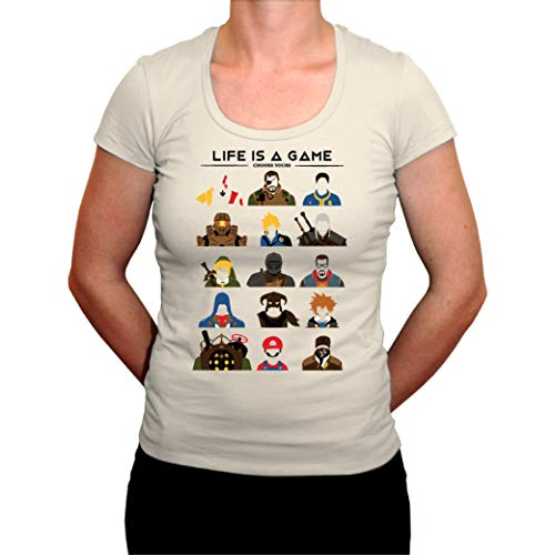 Tee Shirt - Personajes de videojuego para mujer, color blanco blanco hueso L