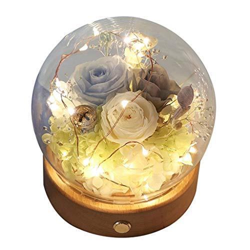Xinxinchaoshi Ewige Blume for Immer Blumen mit Warm LED-Licht Runde Glaskuppel Holzsockel for Valentinstag Geburtstag Jahrestag Weihnachten (Color : D)