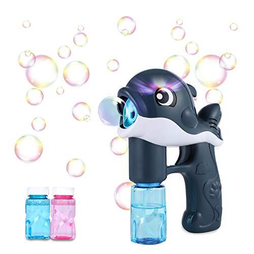 Pistola de Pompas de Jabón Burbujas de Jabon Niños,LED Maquina Pompas Jabon Con 2 Botellas Pompas de Jabón, Juguete de Baño Pomperos para Niños 3 - 12 Años Regalos Cumpleaños Burbujas Jardin (negro)