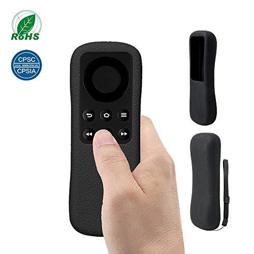 Sikai TV Remote Hülle für Fire TV Stick Fernbedienungs Silikon Tropfen Schützende Hülle Schutzhülle Haut-freundlich Staubdicht Anti-Rutsch Anti-Verloren mit Schlüsselbande MEHRWEG (Schwarz)