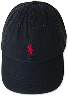 (ポロ ラルフローレン) POLO Ralph Lauren キャップ CAP 帽子 ハット メンズ レディース PONY ポニー ワンポイント ブラック×レッド - [並行輸入品]