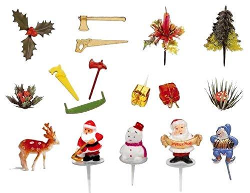 FABOLAND Lot de 17 SUJETS Deco Noel Assortis Decoration BUCHES Noel