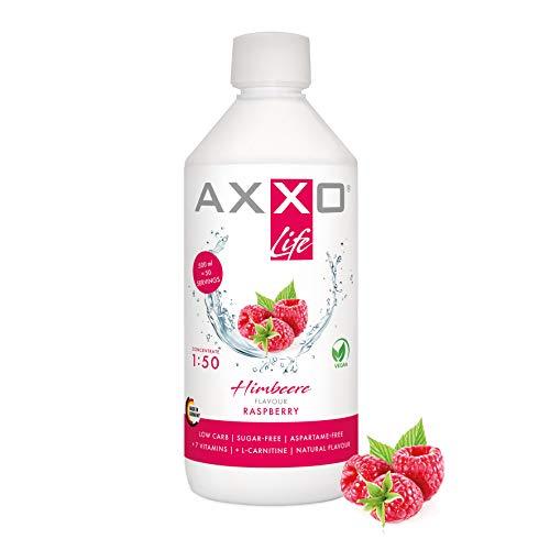 AXXO Life Himbeere - Getränkekonzentrat und Vitaminkonzentrat, 500 ml Flasche, Nahrungsergänzungsmittel für die ganze Familie mit 7 Vitaminen + Zink + L-Carnitin & Vegan