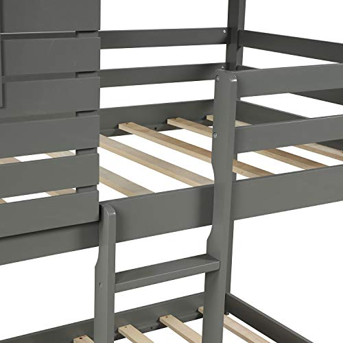 House Bunk beds,Twin Over Twin Bunk Beds with Roof and Guard Rail Ladder for Kids,Toddlers,Wood Loft Bed,No Box Spring Needed (Gray)