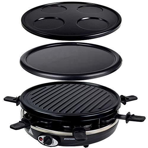 Syntrox Basel 4 in 1 Raclette Crepemaker Grill Pancakemaker für 6 Personen, antihaftbeschichtet