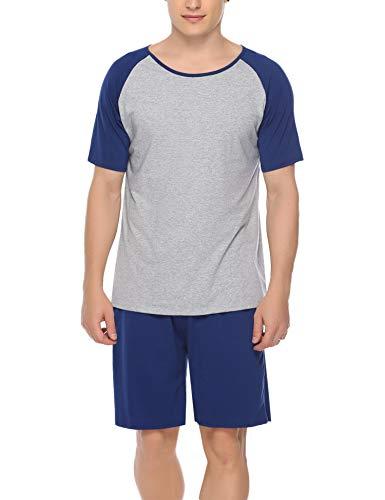 Aiboria Hombres Conjunto de Pijama Corto Raglan Manga Corta Tops y Pantalones Cortos Ropa de Dormir Algodón Loungewear