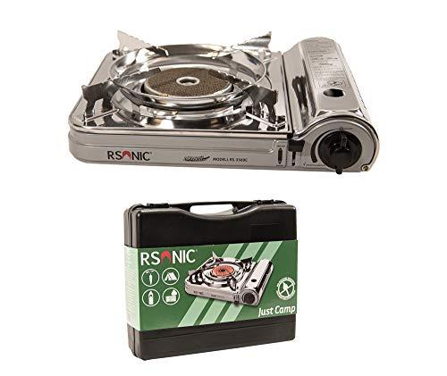 RSonic tragbarer Infrarot Gaskocher mit Tragekoffer   Slim Edition   Brenner aus Keramik   Turbo Leistung   Campingkocher, Tischkocher (Chrom, 4X Gaskartusche)