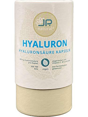 400mg Hyaluronsäure Kapseln mit zusätzlich natürlichem Vitamin C, Vitamin B12 und Zink - 100% Plastikfreie Verpackung – 90 vegane Kapseln (3 Monate) – Für schöne Haut, Anti-Aging und Gelenke