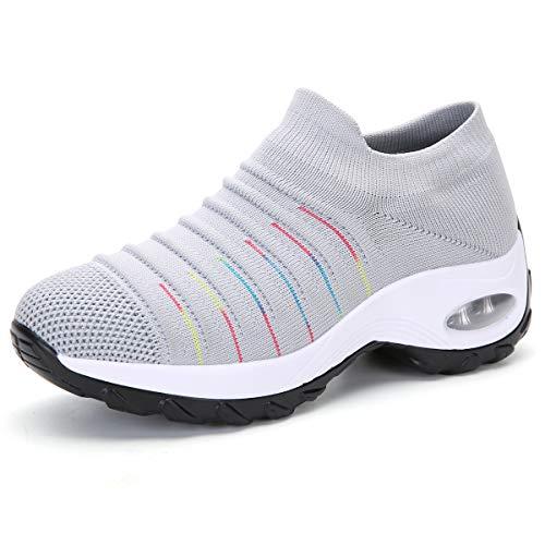 Gainsera Turnschuhe Damen Sportschuhe Laufschuhe Bequeme Air Wedge Schuhe Mesh Socken Slip On Outdoor Wanderschuhe,2089 Grey 38