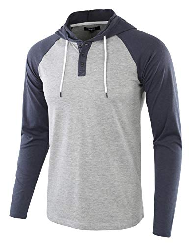 Estepoba Mens Casual Athletic Fit Lightweight Active Sports Jersey shirt Hoodie H.Gray/C.Blue L