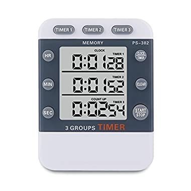 Kitchen Timer, YoyoKit 3 Channels Simultaneous Timing Countdown Up Digital Cooking Timer with Large LCD Display, Loud Alarm, Memory Stopwatch Function, Magnetic Backing Stand for Cooking Baking Sports