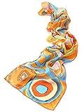 prettystern Donna Lunga Sciarpa di Seta Opera D'arte Dipinto Kandinsky Colorato studio Sul Quadrato Arancione P815