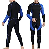 OMGear Wetsuit Men Women Youth 3mm Neoprene Full Body UV Protection One Piece Long Sleeves Scuba Diving Suits Back Zipper for Scuba Diving Surfing Snorkeling Swimming Water Sports(Black & Blue,XL)