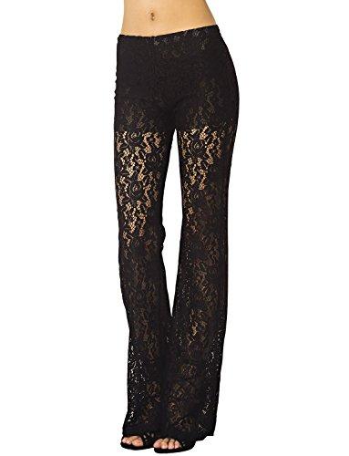 iB-iP Damen Spitze Schlank Ausgestellte Hose Breitbein Niedrige Taille Hosenrock, Größe: 42, Schwarz