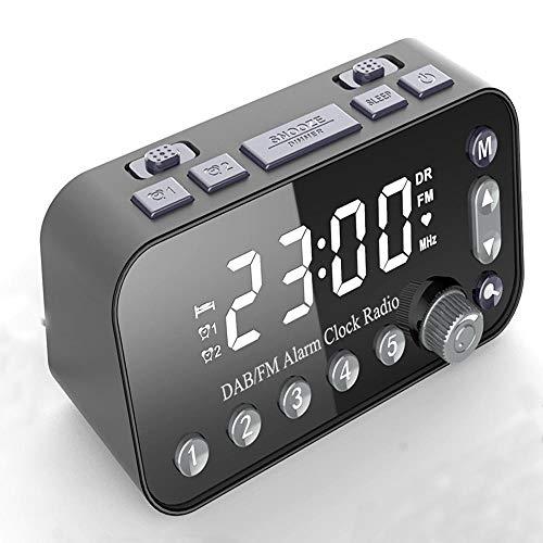 plhzh Reloj Despertador Digital, Alarma Dual, 5 Estaciones FM y Dab preestablecidas, Puertos USB Dobles de Alta Velocidad, Pantalla Digital Blanca Grande, repetición, Sonidos de Alarma Opcionales