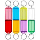 Uniclife 20 Paquete Plástica Resistente Clave Etiquetas con la Ventana de la Etiqueta Anillo Partido, Colores Surtidos