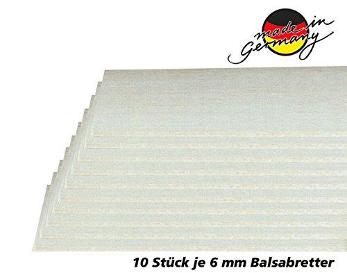 Jamara 231067 - Balsabretter 6 x 100 x 1000mm - 10 Stück aus AAA Balsaholz Qualität, Made in Germany