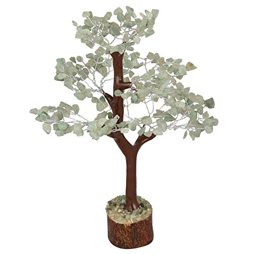 Crocon Green Jade Gemstone Money Tree Feng Shui Bonsai for Reiki Healing Chakra Stone Balancing Energy Generator Spiritual Meditation Home Interior Office Decor Size 10-12 Inch