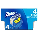 Ziploc Twist 'n Loc, Storage Containers for Food, Travel and Organization, Dishwasher Safe, Mini Round, 4 Count, Pack of 6 (24 Total Containers)