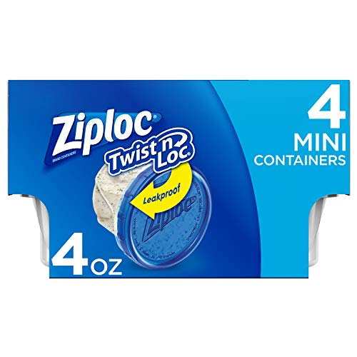 Ziploc Twist N Loc Food Storage Meal Prep Containers Reusable for Kitchen Organization, Dishwasher Safe, Mini Round, 24 Count
