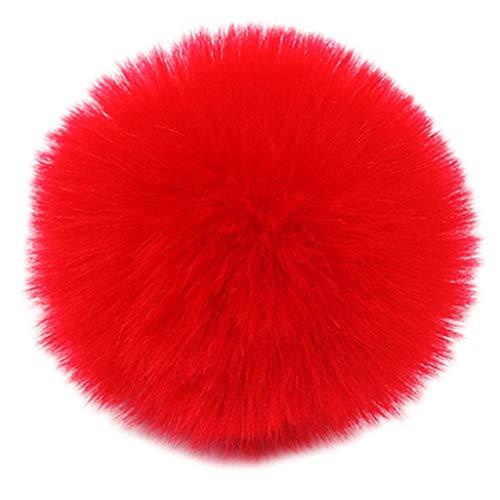 Mentin - Pompón de pelota, 2 unidades, 8 cm, pompón de peluche, pompón con cordón elástico para llaves, llavero, gorro, bolsa de gorro, 10#, talla única