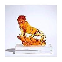 彫刻装飾ガラスタイガー置物-収集可能な動物アートコンビネーションカラーホーム風水彫刻テーブル装飾コレクターのギフトやお土産用アイテム棚装飾(サイズ:C22.5cm)