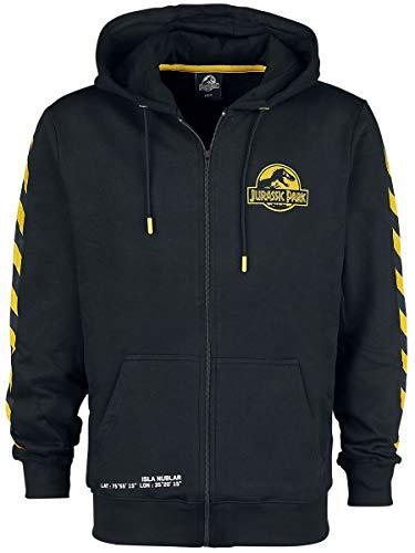 Jurassic Park Isla Nublar Homme Sweat-shirt zippé à capuche noir S, 100% Coton, Regular / Coupe standard