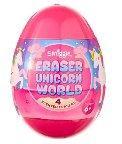Smiggle Eraser World - Gomme profumate a forma di uovo Unicorno rosa.