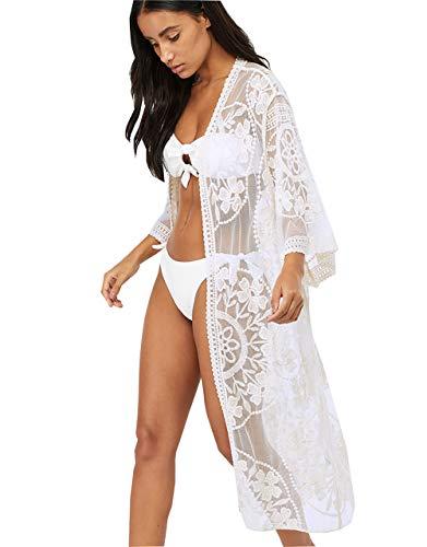 Alcea Rosea Damen bestickte Kimono-Strickjacke aus Spitze mit halben, Einheitsgröße, White