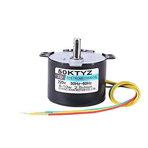 50KTYZ AC 220V 10W 0.5A Small Electric Low Speed Permanent Magnet Synchronous Motor CW/CCW 2.5/20RPM High Torque Metal Geared for Rotisserie Turntable (2.5 RMP)