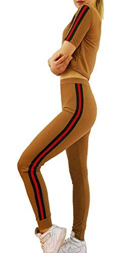 Islander Fashions Mesdames Side Stripe Crop Veste & Lounge Jogger Surv�Tement Femme Sports 2 Pcs Set Camel Medium/Large