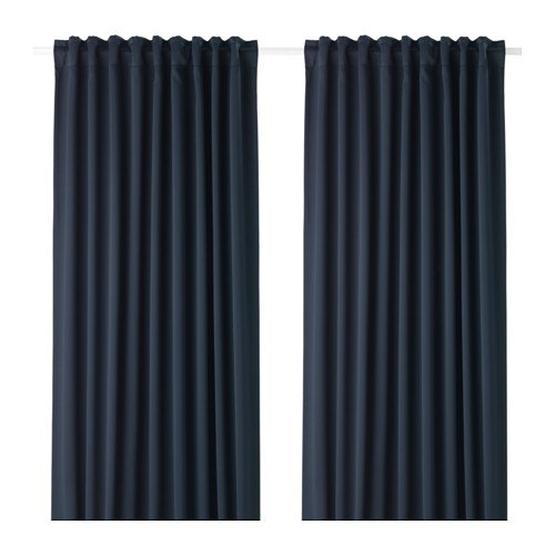 Ikea Majgull 703.410.34 Gardinen, 1 Paar, 57 x 98 cm, Dunkelblau
