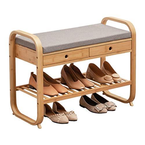 LZG 2-lager naturlig bambu skohylla bänk organiserare med sittkudde och 2 lådor, entré skoorganisatör säte förvaring hylla hallmöbler, 80 cm