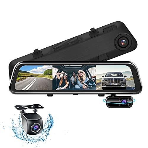 """3 Lens Spiegel Dashcam mit HD 1080P Autokamera Frontkamera Wasserdicht Rückfahrkamera, 12\"""" Anti-Glare Full-Touchscreen Autokamera, Dashcam Auto mit Nachtsicht,Parküberwachung,G-Sensor,Loop-Aufnahme"""