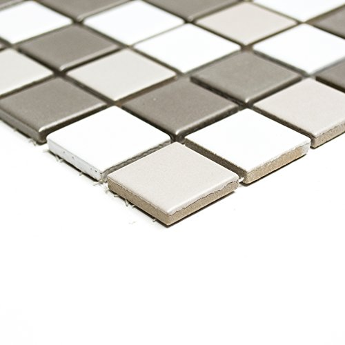 Piastrelle Mosaico tessere di mosaico bianco grigio quadrato in ceramica bagno cucina 6mm nuovo # 227