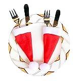 10 Pcs Cocina Soportes Topes De Cocina Cubiertos Cubiertos Bolsillos Knifes Forks Bag Sombrero De Navidad Formulario para Cuchillo Y Tenedor Cena De Navidad Cena Decoración Roja