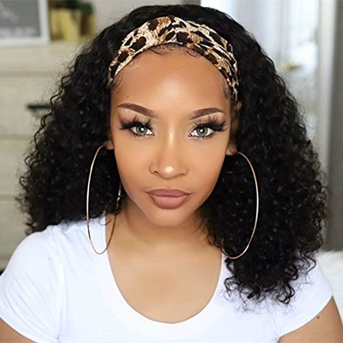 HeadBand Wig Curly Human Hair Wig None Lace Front Wigs for Black Women Deep Wave Machine Made Wigs Natural Color 150% Density 16inch