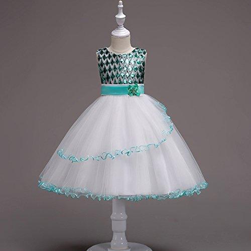 WML Kinderbekleidung Prinzessin Kinder Kleid Rock Mesh Gaze Flauschigen Rock Kleid Schule Leistung Tanz Rock,Grün,130cm