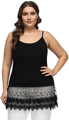 Women s Spaghetti Strap Lace Trim Cami Tunic Tank Top Plus Size 22W Black product image